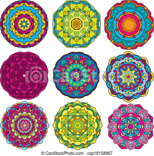 Set Of 60 Colorful Round Ornaments Kaleidoscope Floral Patterns Delectable Kaleidoscope Patterns