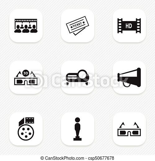 set of 9 editable cinema icons includes symbols such as ticket