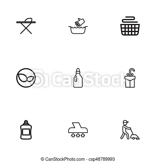 set of 9 editable cleaning icons includes symbols such as clean