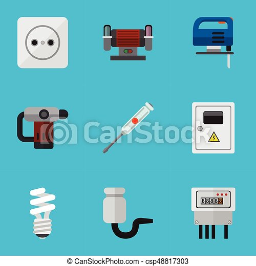 Set of 9 editable instruments icons. includes symbols such as ...
