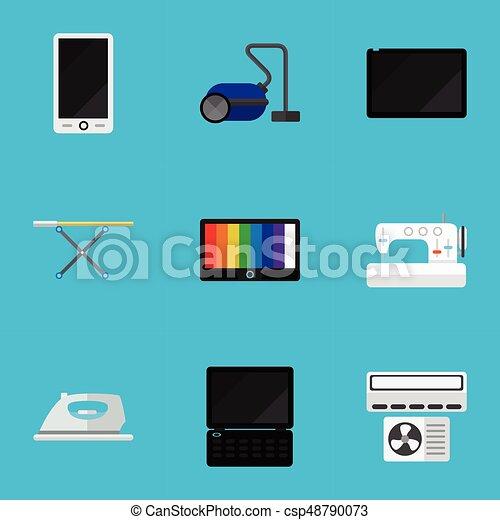 Set Of 9 Editable Tech Icons Includes Symbols Such As Vectors