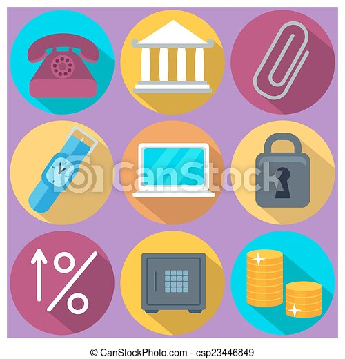 Set of 9 finance and banking colorful round icons - csp23446849
