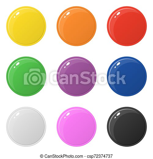 Set of 9 glossy round colorful buttons isolated on white. Vector illustration for design, game, web. - csp72374737