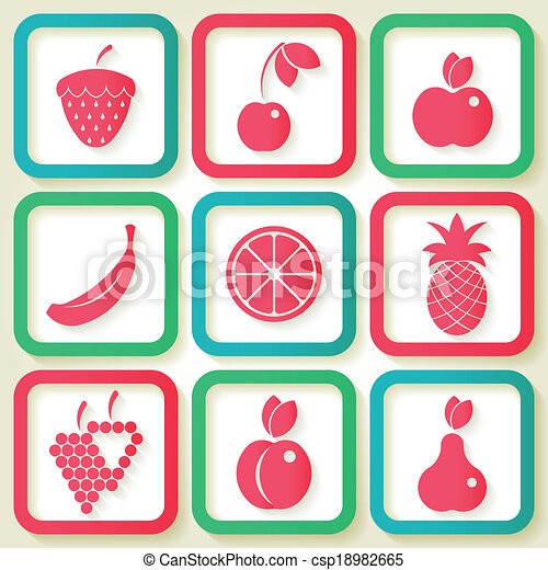 Set of 9 retro icons with fruits - csp18982665