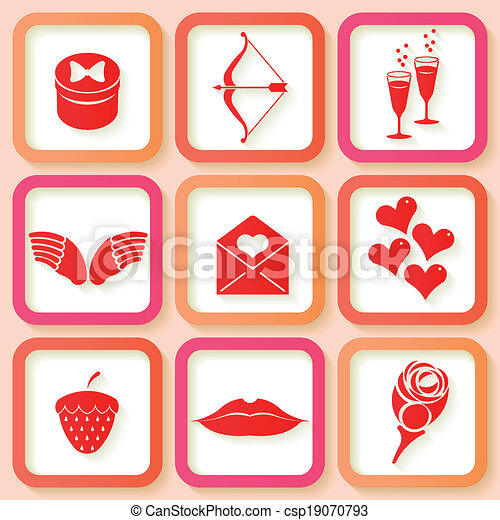 Set of 9 retro pink icons - csp19070793