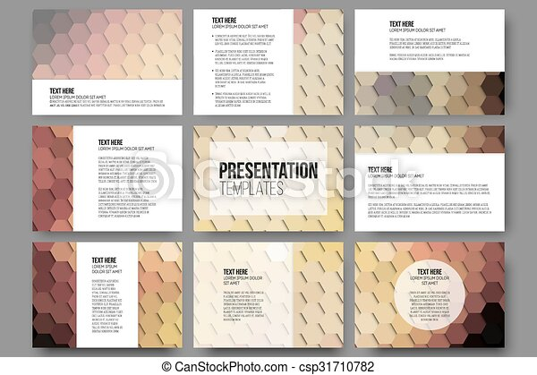 Set of 9 templates for presentation slides. Colorful geometric backgrounds, abstract hexagonal vector patterns - csp31710782
