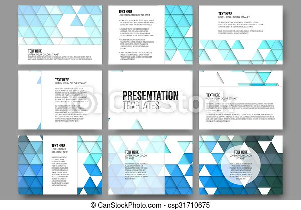 Set of 9 templates for presentation slides. Abstract blue backgrounds. Triangle design vectors - csp31710675