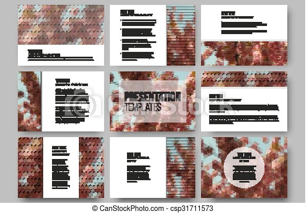 Set of 9 templates for presentation slides. Purple flowers. Abstract multicolored backgrounds. Natural geometrical patterns. Triangular and hexagonal style - csp31711573