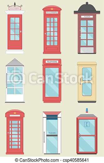 Set of 9 United Kingdom Telephone Boxes from England, Scotland and Ireland  flat London box, British telegraph