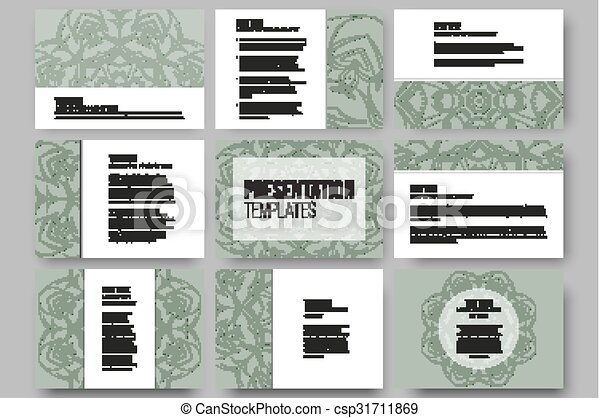 Set of 9 vector templates for presentation slides. Modern stylish geometric backgrounds, round ornamental shapes - csp31711869