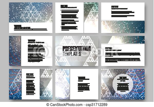 Set of 9 vector templates for presentation slides. Colorful graphic design, abstract background - csp31712289