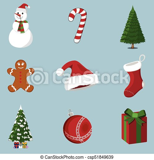 Set of 9 XMas icon. Cartoon style. Vector Illustration for Christmas day - csp51849639