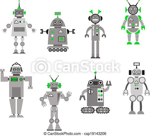 Set of abstract cartoon robots - csp19143206