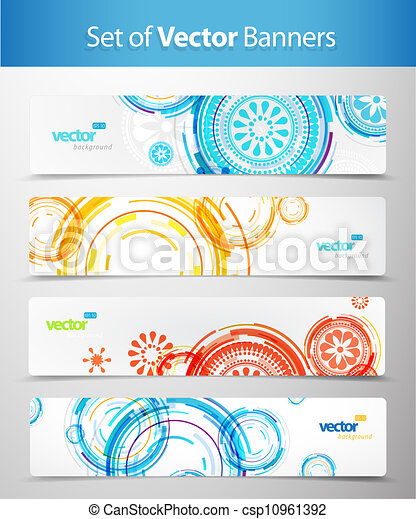 Set of abstract colorful web headers.  - csp10961392