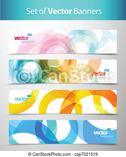 Set of abstract colorful web headers. - csp7021519