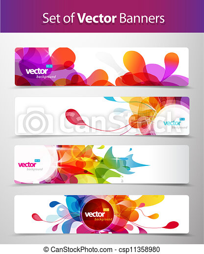 Set of abstract colorful web headers.  - csp11358980