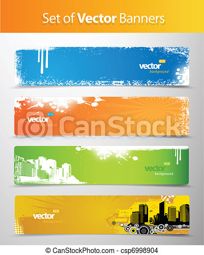 Set of abstract colorful web headers. - csp6998904