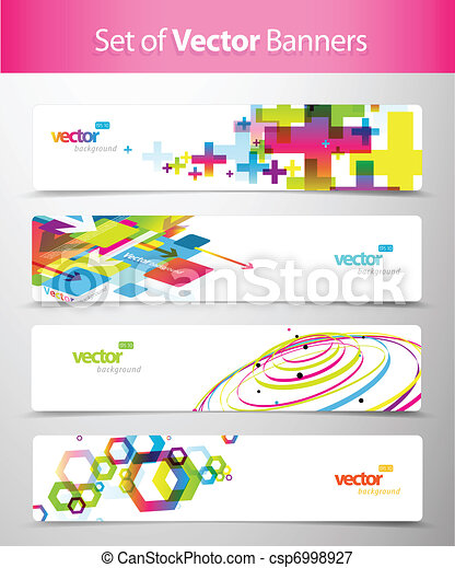 Set of abstract colorful web headers. - csp6998927
