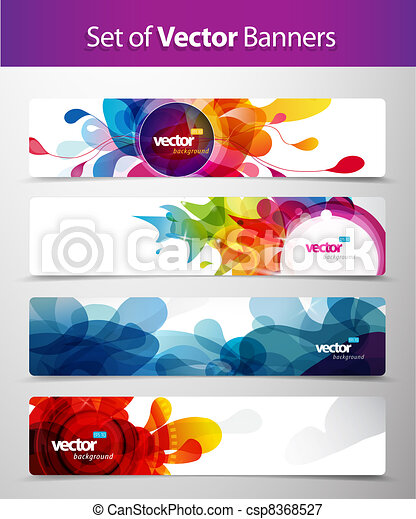 Set of abstract colorful web headers.  - csp8368527