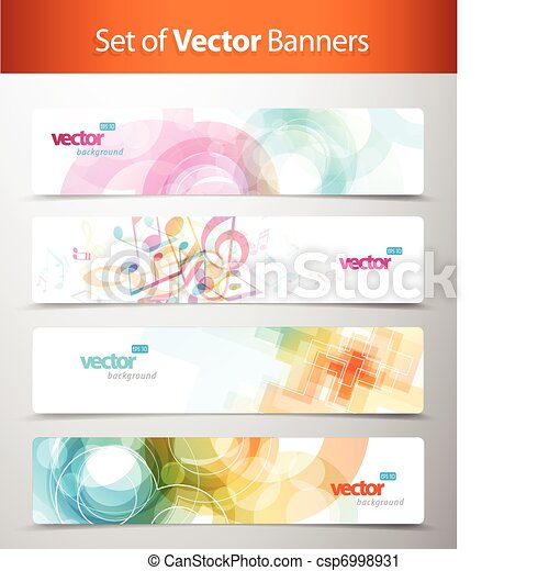 Set of abstract colorful web headers. - csp6998931