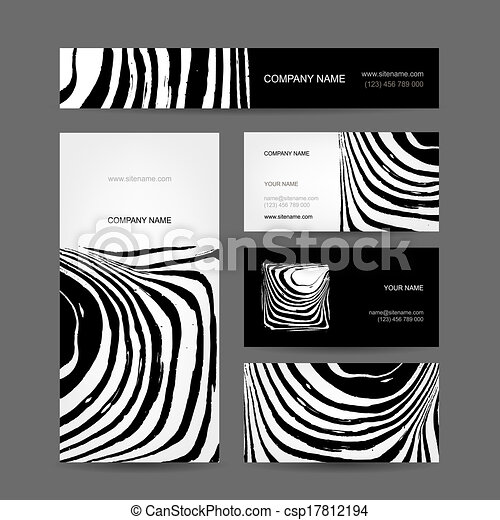 Set of abstract creative business cards zebra print design set of abstract creative business cards zebra print design csp17812194 reheart Images