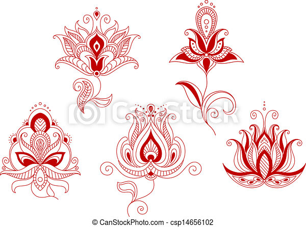 set of abstract flowers in persian and indian motifs style vector clipart search. Black Bedroom Furniture Sets. Home Design Ideas