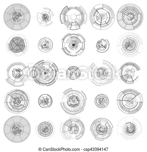 Set of abstract hud elements isolated on white background. High tech motion design, round interfaces, connecting systems. Science and technology concept. Futuristic vector. - csp43394147