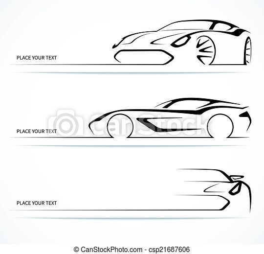 Set of abstract linear car silhouettes. - csp21687606