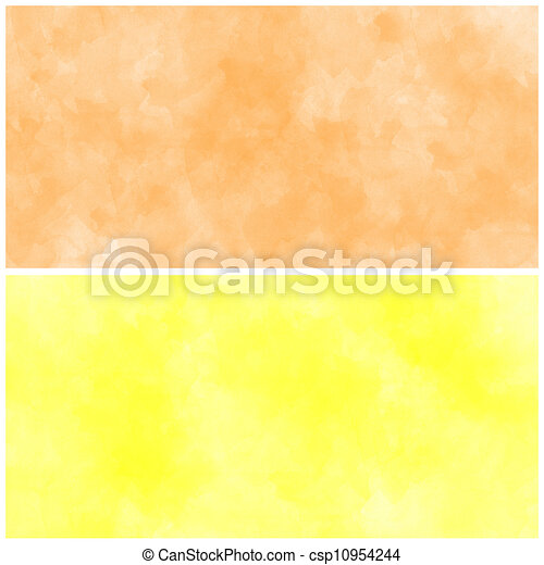 set of abstract orange watercolor - csp10954244