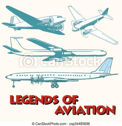 Set of abstract retro planes - csp34485696
