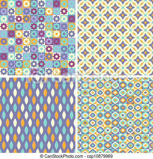 Set of abstract seamless patterns - csp10879969