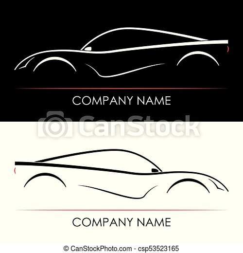 Set Of Abstract Sports Car Silhouettes Template Card Black And