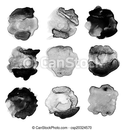 set of abstract watercolor blot - csp20324570
