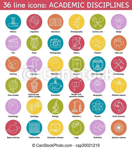 Set of academic disciplines icons - csp30021219