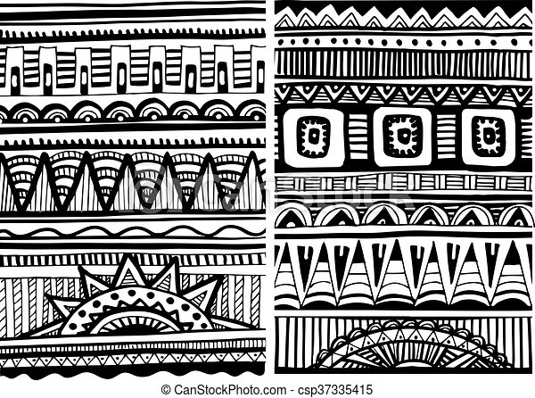 Set of african patterns African tribal abstract patterns Custom African Tribal Patterns