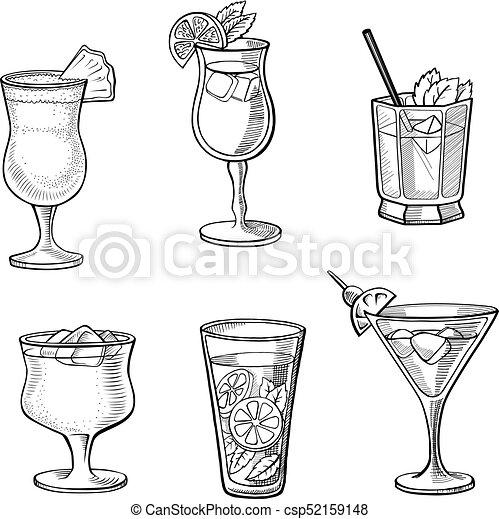 Set of alcoholic cocktails