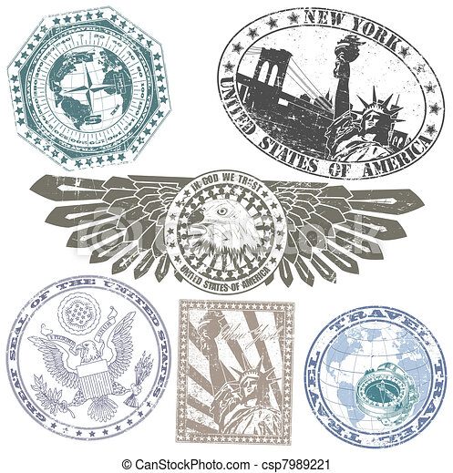 Set of American stamps - csp7989221