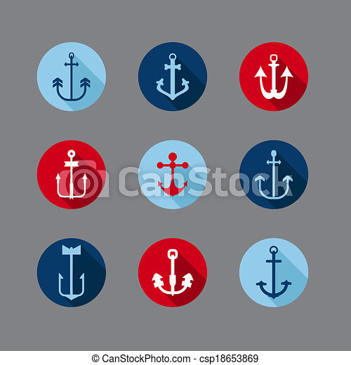 Set of Anchor Nautical Icons - for your logo, design, scrapbook - in vector - csp18653869