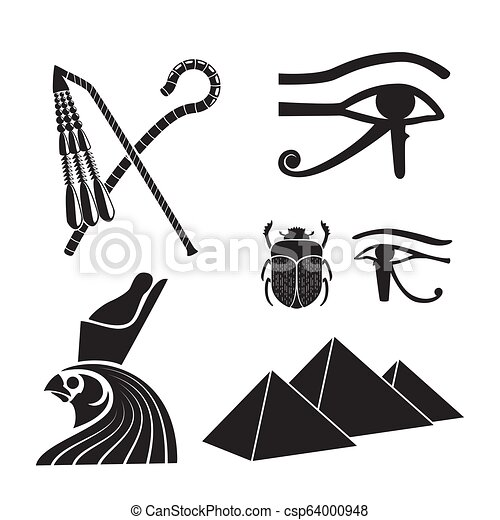 15553380846b3 Set of ancient egypt silhouettes - the crook and flail, scarab, eye ...