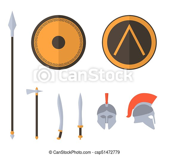 Set Of Ancient Greek Spartan Weapon And Protective Equipment Spear