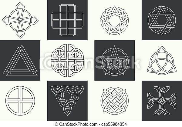 Set Of Ancient Symbols Executed In Linear Celtic Style Secret Signs