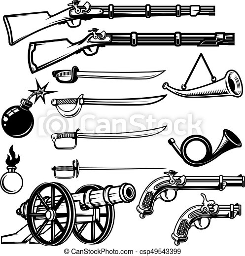 Set of ancient weapon. Muskets, saber, cannons, bombs. Design el - csp49543399