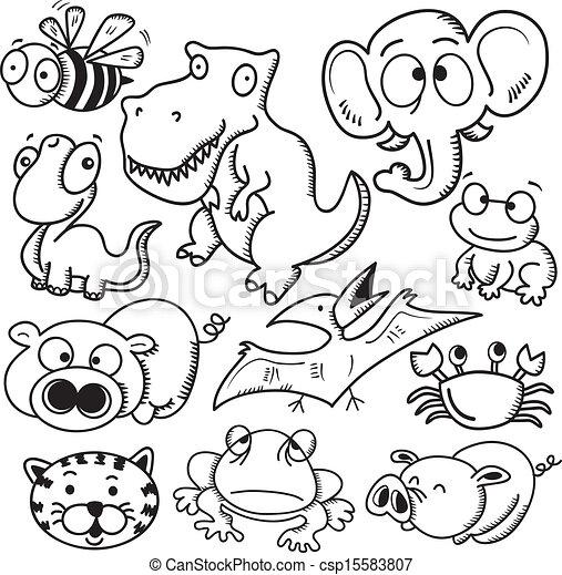 set of animal cartoon - csp15583807