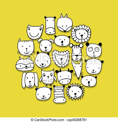 Set of animal faces, sketch for your design - csp40268781