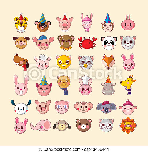 set of animal head icons - csp13456444