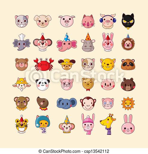 set of animal head icons - csp13542112