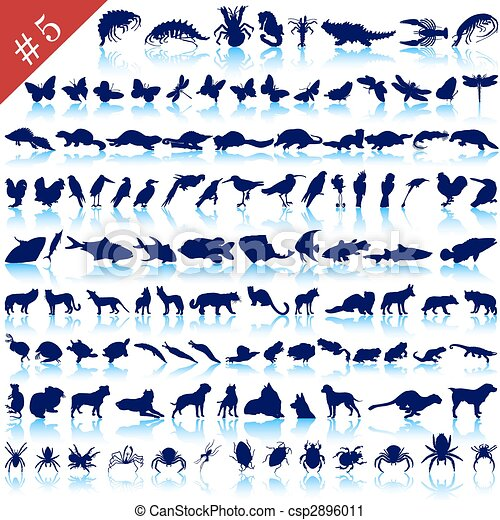 set of animal silhouettes - csp2896011