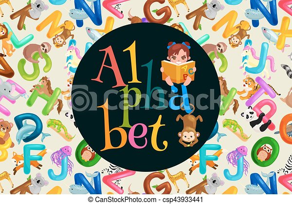 Set Of Animals Alphabet For Kids Letters Cartoon Fun Abc Education In Preschool Cute Children Zoo