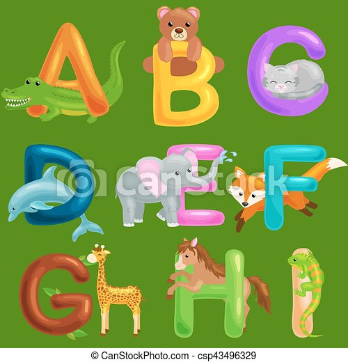Set Of Animals Alphabet For Kids Fish Letters Cartoon Fun Abc Education In Preschool Cute Children
