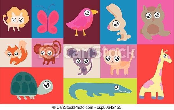 set of animals in kawaii style - csp80642455